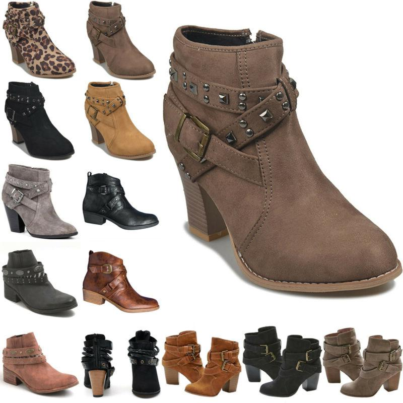 women retro buckle ankle boots low mid