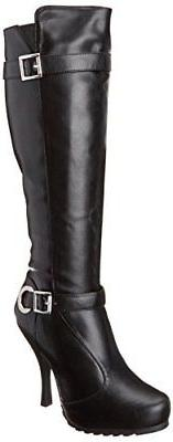 Ellie Shoes Women's 423 Anarchy Motorcycle Boot, Black Polyu