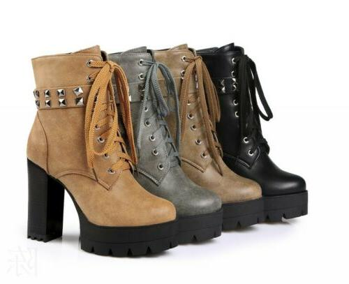 Women's Ankle Motorcycle Boots Platform Rivets High Heel Punk Gothic Shoes 34-43