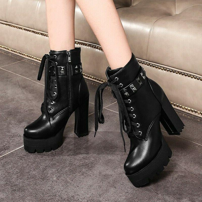 women s ankle motorcycle boots platform rivets