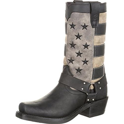 women s flag harness boot motorcycle black