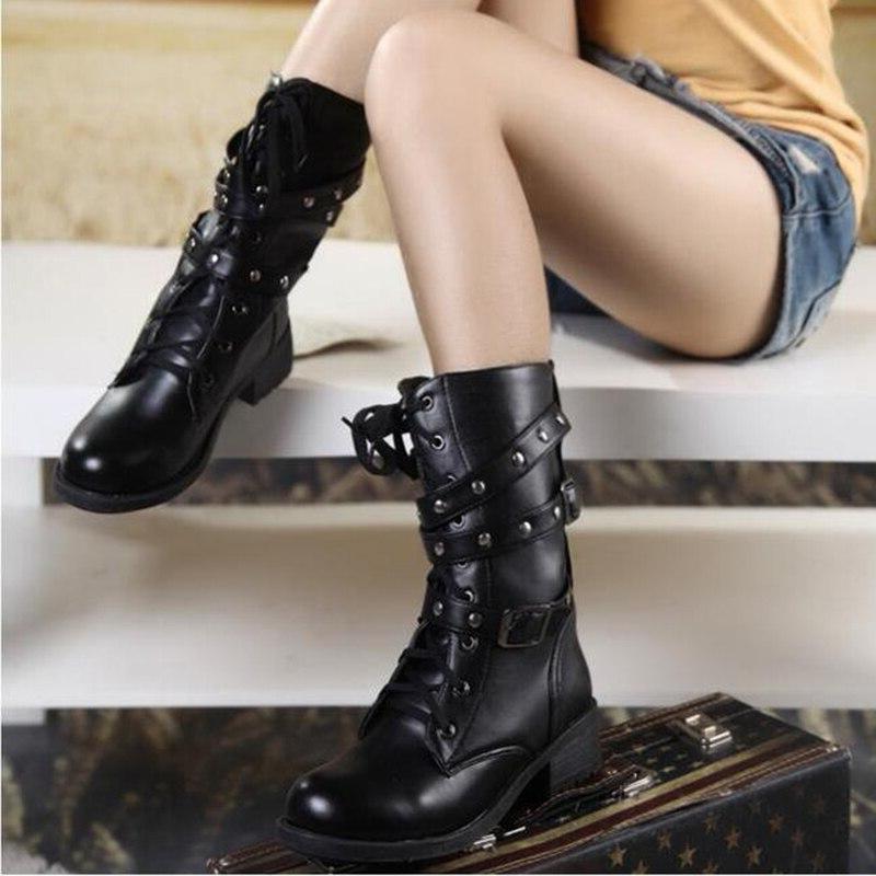 Women's PU Leather <font><b>Boots</b></font> Woman Shoes 2019 Fashion <font><b>Boots</b></font> Mid-Calf <font><b>Boot</b></font> Black Shoes