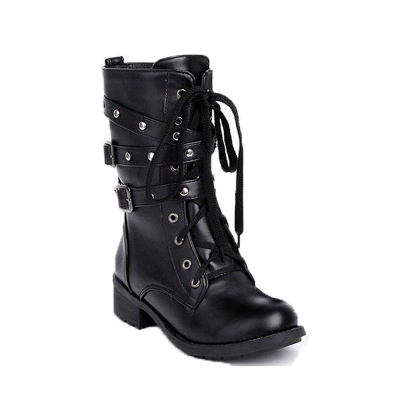 Women's <font><b>Boots</b></font> Woman 2019 Fashion Rivet <font><b>Boots</b></font> Mid-Calf <font><b>Boot</b></font> Black <font><b>Casual</b></font>