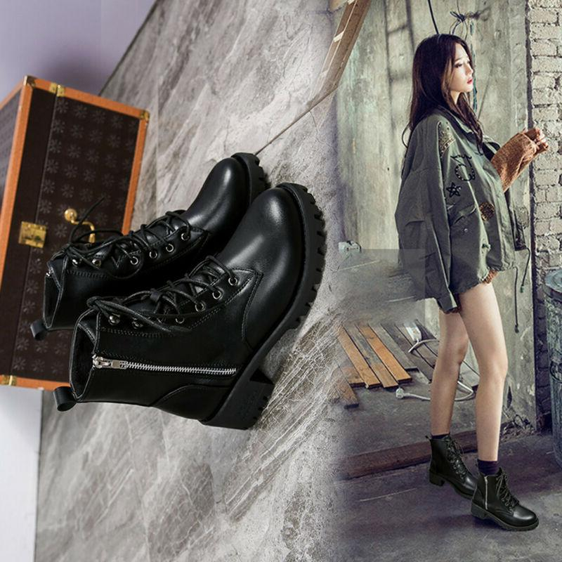Women's Vintage Leather Motorcycle Boots Shoes