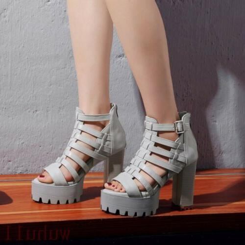Women's Sandals Boots Roma Riding High Heel Motorcycle