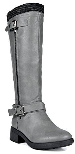 DREAM PAIRS Women's Turtle Grey Knee High Motorcycle Riding
