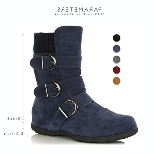 DailyShoes Women's Winter Boots Durable Mid Calf Slouch for Fall and Seasons, Navy B US