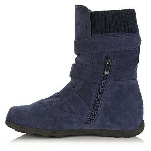 DailyShoes Women's Boots with Mid Slouch Perfect for Fall Seasons, Navy SV, B US