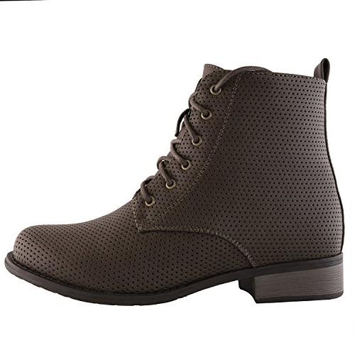 DailyShoes Women's Women's Lace-Up Ankle Padded Work Combat Pocket Brown