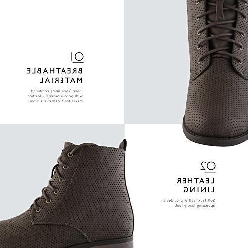 DailyShoes Lace-Up Ankle Work Pocket Ladies Brown PU, 7.5 B