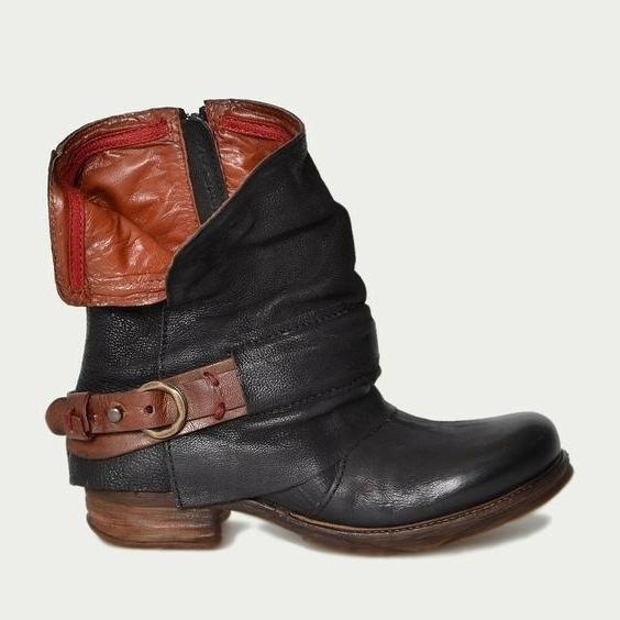 Women Biker Boots Flats Low Heel Shoes Ankle Boots