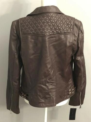 Marc New Andrew Marc Womens Black Leather Motorcycle L $480