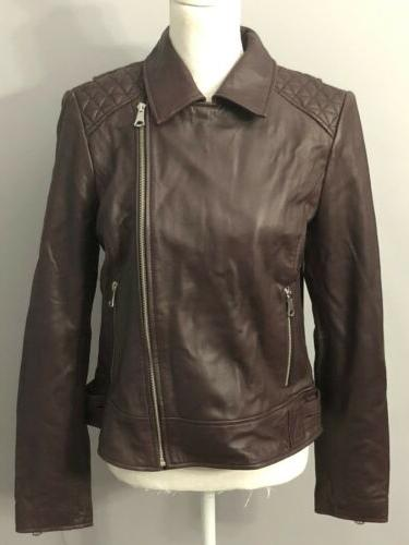 womens black leather motorcycle jacket size l