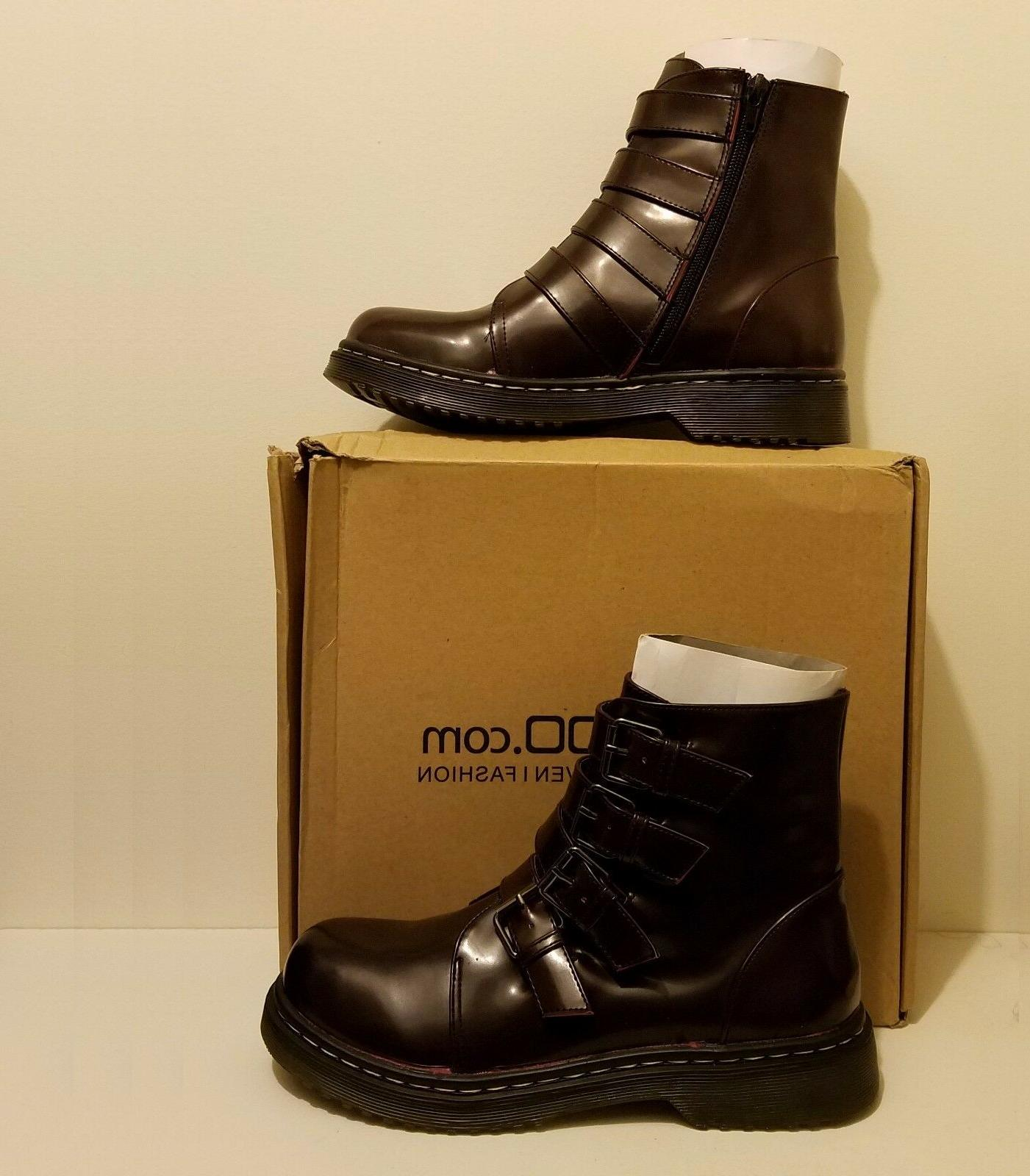 Boohoo Burgundy Molly Multi Buckle Boot