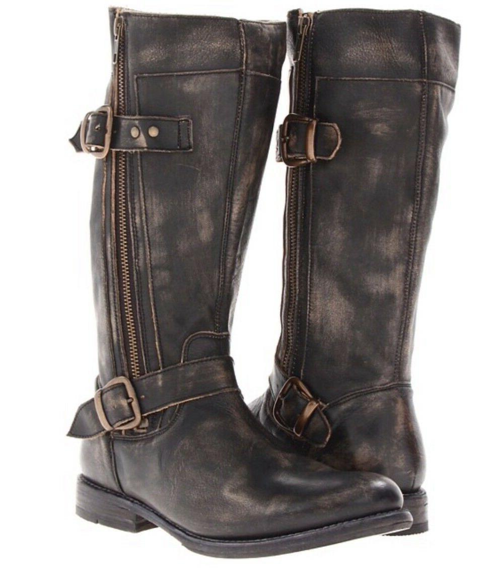 Womens BED STU Boots BLACK HAND Leather