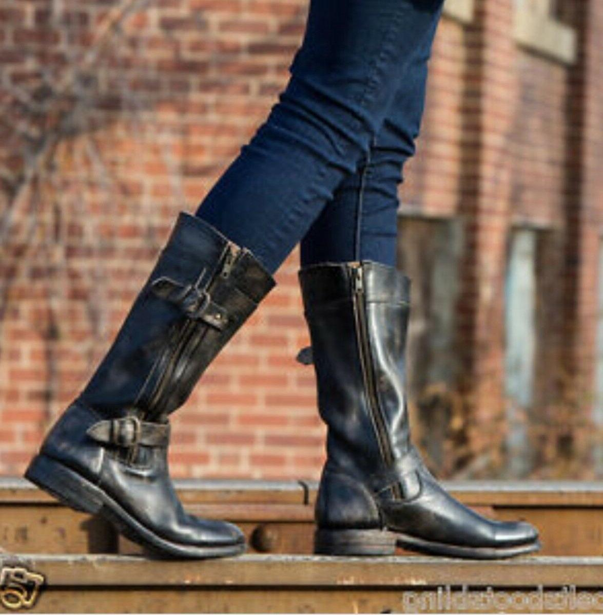Womens GOGO Boots BLACK Leather 7.5 Zippers