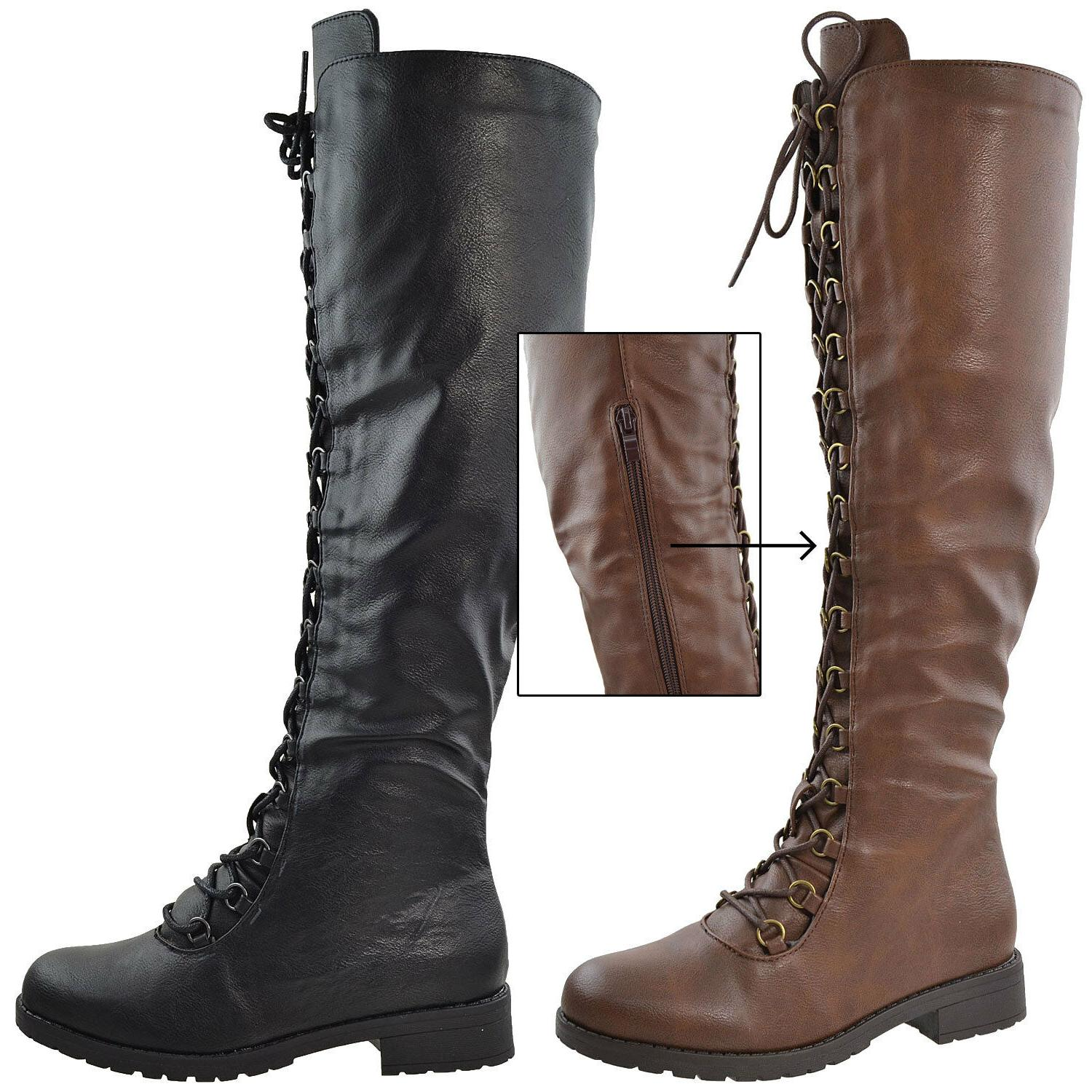 Womens Knee Boots Lace Up Leather Heels Motorcycle Shoes