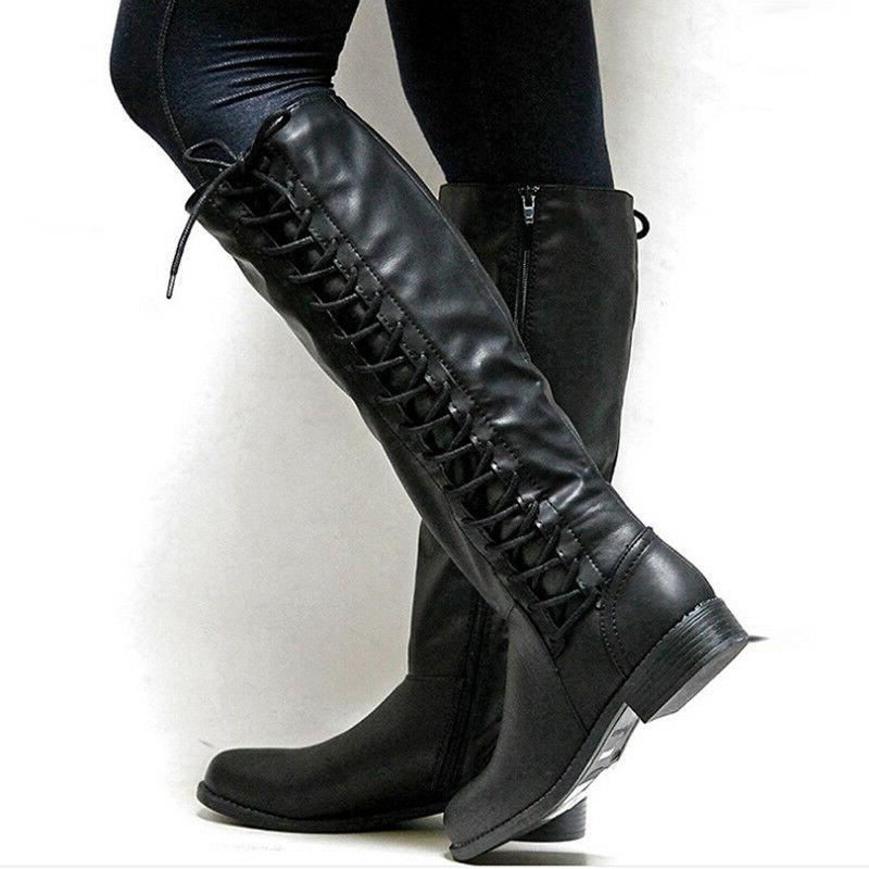 Women's High Boots Flat Side Up Shoes