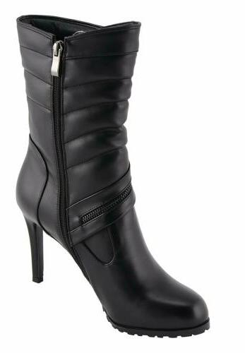 WOMENS BIKER PADDED SHAPE HEEL SHOES BOOTS SADO