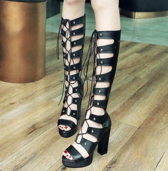 Womens Rivet Knee-High Boots Back Zip Up