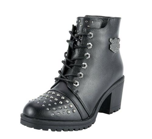 WOMENS MOTORCYCLE STUDDED BOOTS MILWAUKEE RIDERS DD2