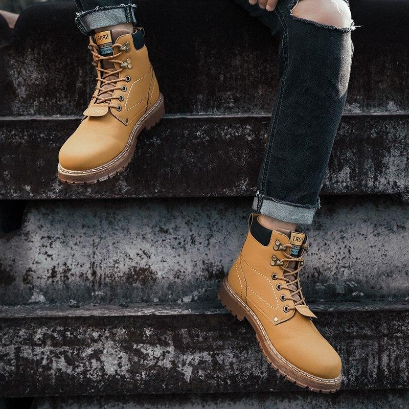 Yellow <font><b>Boots</b></font> Winter Warm Shoes Mens Leather Bot Cowboy 2019