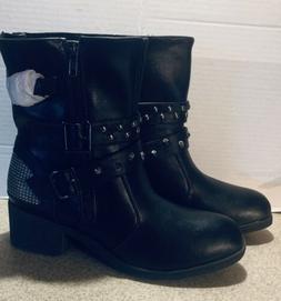 Ladies Zippered Black Multi-Studded Buckle Boots By Milwauke