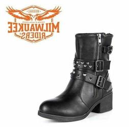 Ladies Zippered Black Multi-Studded Buckle Boots By Milwauke