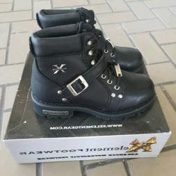 Xelement Leather Motorcycle Boots, Women's Size 9, Black