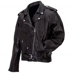 Man's Motorcycle Jacket  Diamond Plate Genuine Buffalo Leath