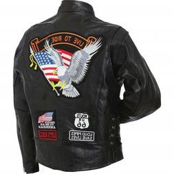 Man's Motorcycle Jacket Diamond Plate Genuine Buffalo Leathe