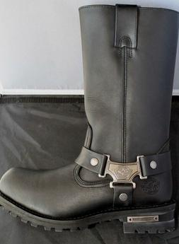 Milwaukee MBM131 Black Leather Harness Motorcycle Boots Size