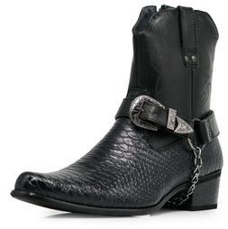 Men Black Cowboy Western Boots  Leather Line Motorcycle Croc