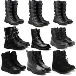 Men Black Punk Rock Boots Goth Ankle Mid-Calf Lace-up Biker