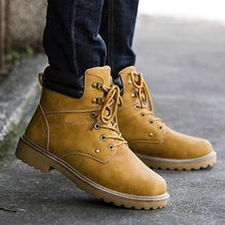 Gyoume Men Calf Boots Winter Lace up Boots Shoes Male Ankle