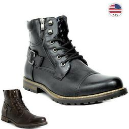 Men Military Motorcycle Combat Riding Ankle Leather Brogue N