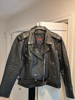 Event Biker Leather Men's Basic Motorcycle Jacket with Pocke