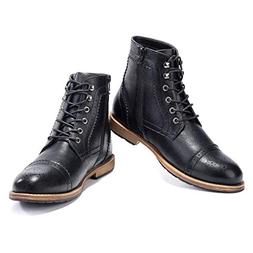 Men's Brogue Boots Ankle Oxford - Dress Boot Lace Up Zip Cap