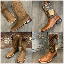 MEN'S BROWN WORK BOOTS WESTERN WIDE SQUARE TOE LEATHER SHAFT