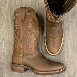 MEN'S BROWN WORK BOOTS WESTERN COWBOY ROUND TOE REAL LEATHER