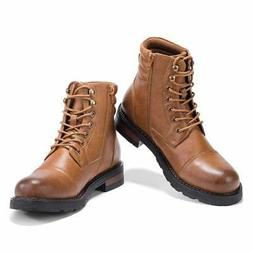 GM GOLAIMAN Men's Combat Boots Lace up Motorcycle Boots Brow