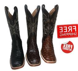 Men's Cowboy Boots Ostrich Print Leather Western Rodeo Squar