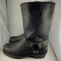Men's Dingo Dean Leather Harness Motorcycle Boots Black DI19