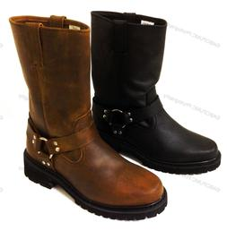 New Men's Harness Boots Motorcycle Biker Full Grain Leather