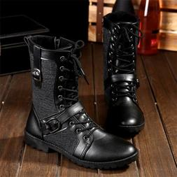 792581a079f Men s High Military Combat Boots Lace Up Army Boots New Moto