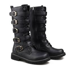 Men's High Top Boots Punk Black Retro Motorcycle Shoes Milit