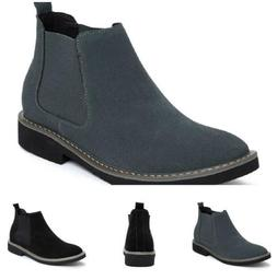 Men's High Top Chelsea Ankle Leather Boots Shoes Slip on Hid