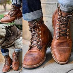 Men's Lace Up Boots Motorcycle Punk Combat Military Tactical
