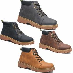 Men's Lace Up Boots Vintage Work Safety Anti slip Martin Cow