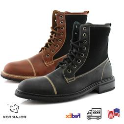 Men's Lace Up Designer Boots Street Motorcycle Style Casual